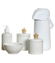 potes, garrafa, molhadeira e porta álcool-gel com corôa potinho de mel branco