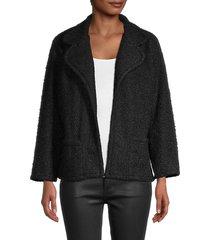 love ady women's bouclé open-front jacket - black - size s