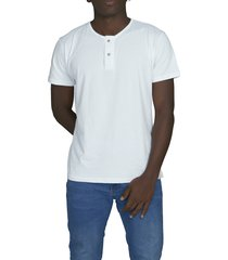 camiseta blanca luck & load cuello dos botones manga corta
