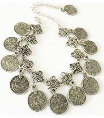 tobillera monedas plateada