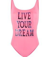alberta ferretti sequin slogan swimsuit - pink