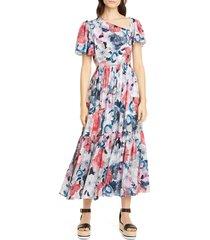 women's erdem floral print asymmetrical neck silk midi dress, size 10 us / 14 uk - pink