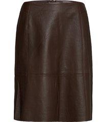 shibacr leather skirt knälång kjol brun cream