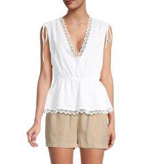 bcbgmaxazria women's sleeveless v-neck top - white - size xs