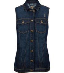 gilet di jeans con inserti a costine (blu) - bpc bonprix collection