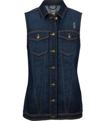 gilet di jeans con inserti a costine (blu) - bpc bonprix collection