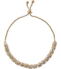 inc gold pave rondelle beaded slider bracelet, created for macy's