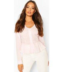 cotton mix polka dot button down shirt, pink