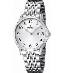 reloj blanco festina mujer acero moda