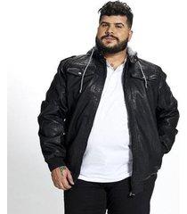 jaqueta corino masculina plus size capuz removível
