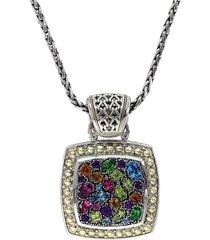 effy women's 18k yellow gold, sterling silver & multi-stone pendant necklace