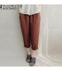 zanzea pantalones de lino de algodón bolsillos laterales de cintura elástica pantalones largos sólidos -oxido