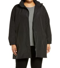 plus size women's eileen fisher stand collar organic cotton blend coat with hidden hood, size 1x - black