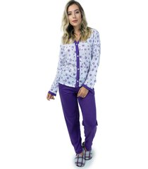 pijama mvb modas aberto blusa com botões e calça roxo