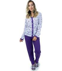 pijama mvb modas aberto blusa com botões e calça roxo - kanui