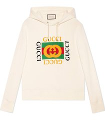gucci gucci print hooded sweatshirt - neutrals