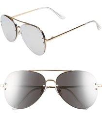 women's bp. 60mm oversize mirrored aviator sunglasses - gold/ silver