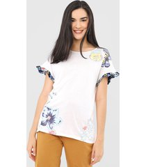camiseta desigual muich off-white/azul-marinho - off white - feminino - viscose - dafiti