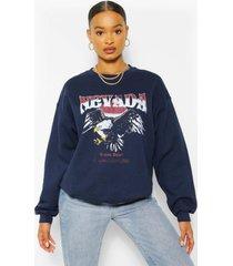 oversized sweater met nevada-afbeelding, marineblauw