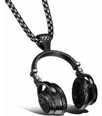 dije collar audifonos acero inoxidable rock hombre 354 negro