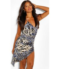 asymetirc mini-jurk met wikkelstijl voorkant, blauw