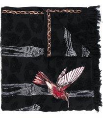 alexander mcqueen bird-print frayed scarf - black