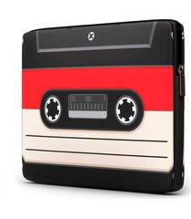 capa para notebook fita k7 15 polegadas com bolso - preto - dafiti
