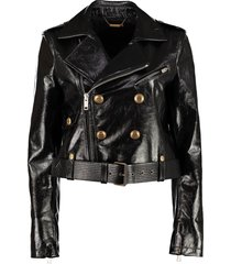 givenchy double-breasted belted biker jacket