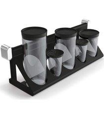 utensílio preto sem temporada suporte porta-condimentos preto solido de plástico