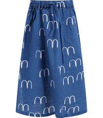 bobo choses blue long girl skirt with seagull