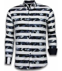 italiaanse overhemden - slim fit - blouse big stripe camouflage pattern