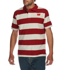 polera polo hombre foundation stretch polo rojo cat