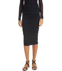 women's fuzzi ruched tulle skirt, size small - black