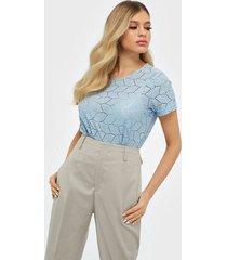 jacqueline de yong jdytag s/s lace top jrs rpt2 noos blusar & skjortor cashmere blue