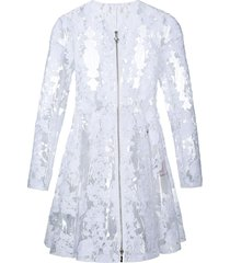 moncler clear pu floral lace coat - white