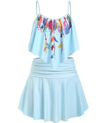 plus size feather print flounce ruched detail skirted tankini swimwear