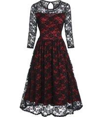flower pattern lace prom dress