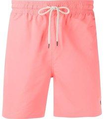 polo ralph lauren short de natação com logo bordado - rosa