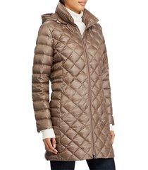 women's lauren ralph lauren down packable quilted hooded coat, size xx-small - brown
