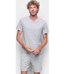 pijama hering curto gola v mini print masculino - masculino