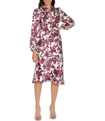adrianna papell long sleeve bias satin a-line dress, size 10 in burgundy multi at nordstrom