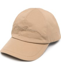 giorgio armani embroidered signature baseball cap - neutrals