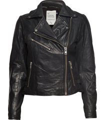 02 the leather jacket leren jack leren jas zwart denim hunter