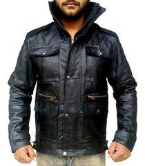 handmade new men front four pockets style slim fit leather jacket, men leather j