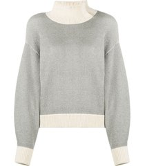 3.1 phillip lim high neck ribbed sweatshirt - grey