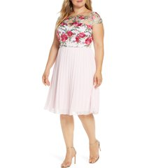 plus size women's chi chi london curve lydie floral embroidered cocktail dress