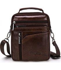 mini borsa a tracolla casual vintage multifunzionale in vera pelle per uomo