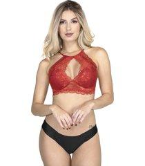 sutiã bojo bravaa modas com renda sensual 306 vermelho