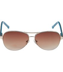 colors in optics women's 60mm aviator sunglasses - pale gold red