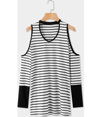 black cut out stripe cold shoulder long sleeves t-shirts